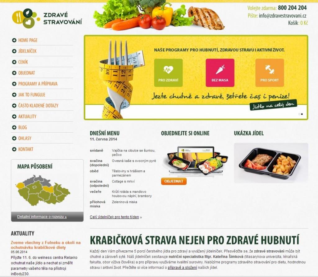 Zdravé stravování - printscreen webu
