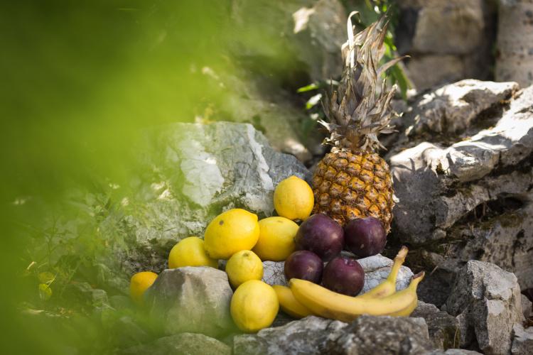 citrusy, ananas a švestky