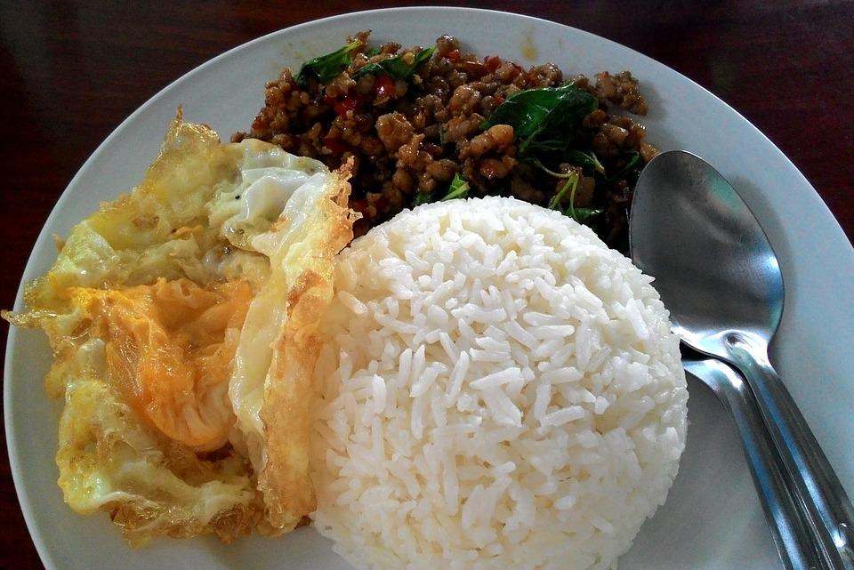 bílkovinové jídlo s rýží