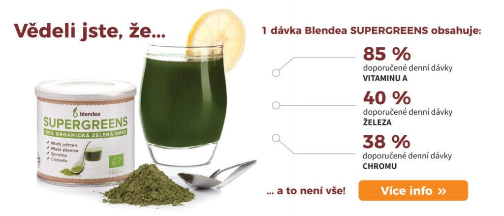 blendea supergreens, obsah vitamínů a minerálů