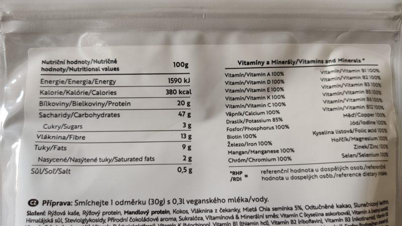složení vegan shakes Chia Shake